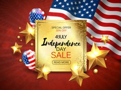 Independence Day sale banner with golden stars anf flag. Vector