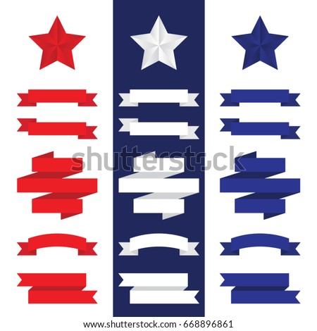 Independence Day / 4th Of July decorative stars and stripes ribbon banners for website headers, email newsletters, or printed poster graphics