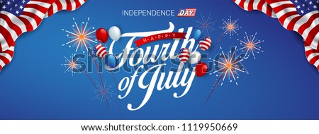 Independence day USA banner template american balloons flag and Colorful Fireworks decor.4th of July celebration poster template.fourth of july voucher discount.Vector illustration . Stock photo ©