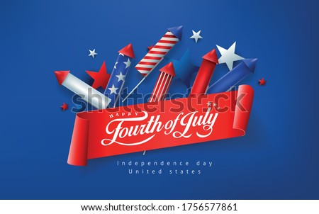Independence day USA banner template rockets for fireworks background.4th of July celebration poster template.fourth of july vector illustration . Stock photo ©