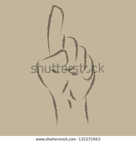 Index Finger Hands Crayon illustration Vector