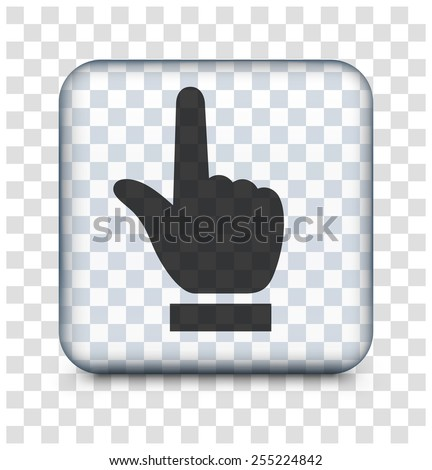Index Finger Pointing on Transparent Square Button