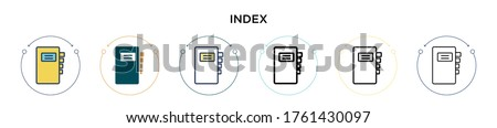 Index icon in filled, thin line, outline and stroke style. Vector illustration of two colored and black index vector icons designs can be used for mobile, ui, web Stock fotó ©