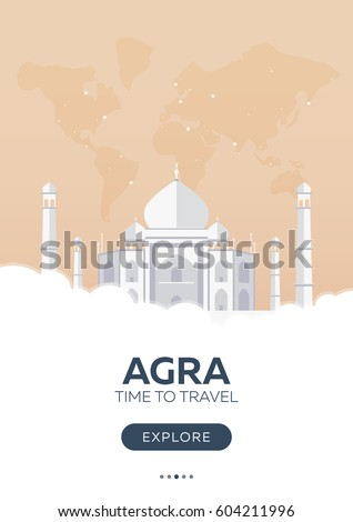 India. Agra. Taj Mahal. Time to travel. Travel poster Vector flat illustration