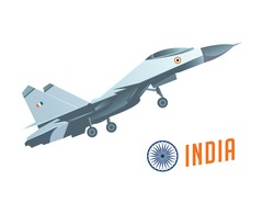 India air strike concept. Modern war airplanes attack on India flag background