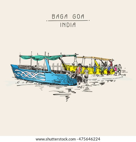india baga beach sketch drawing