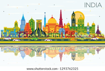 India City Skyline with Color Buildings, Blue Sky and Reflections. Delhi. Mumbai, Bangalore, Chennai. Vector Illustration. Tourism Concept with Historic Architecture. India Cityscape with Landmarks.