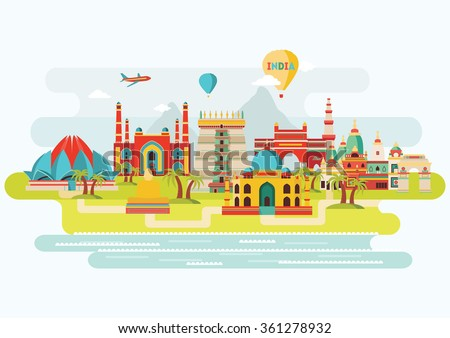 india colorful detailed skyline