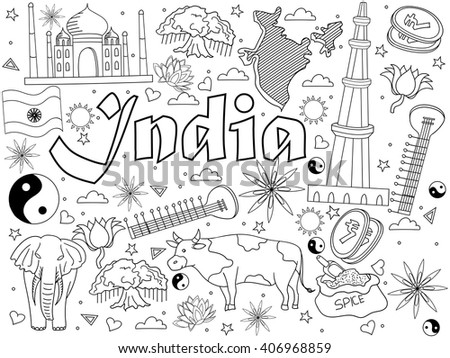 India coloring book line art design vector illustration. Separate objects. Hand drawn doodle design elements. #406968859