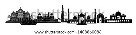 India, Delhi landmarks. Indian city New-Delhi skyline touristic view. Asian architecture silhouette