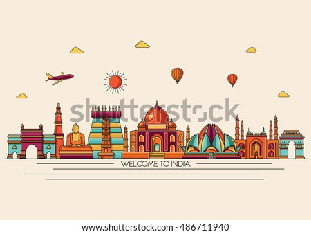 Shutterstock India detailed skyline. Travel and tourism background. Vector background. Line art style
