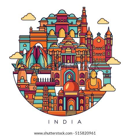 india detailed skyline travel