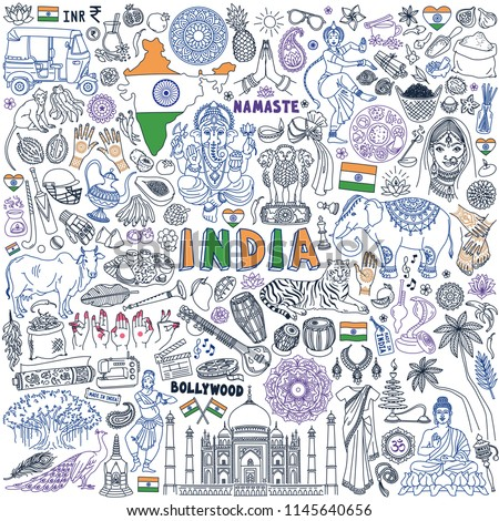 India doodle set. Traditional symbols of Indian culture and buddhism, national food and landmarks. Hand drawn vector illustration isolated on white background.