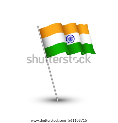 India flag 3D isolated on white background