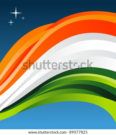 India flag illustration fluttering on blue background. Vector file available.
