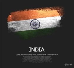 India Flag Made of Glitter Sparkle Brush Paint Vector