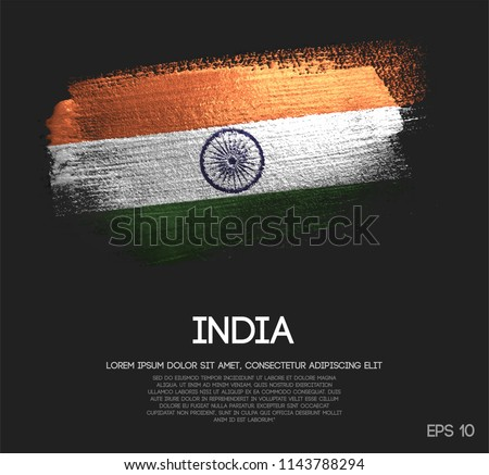 India Flag Made of Glitter Sparkle Brush Paint Vector
