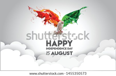 India flag with flying pigeon background
