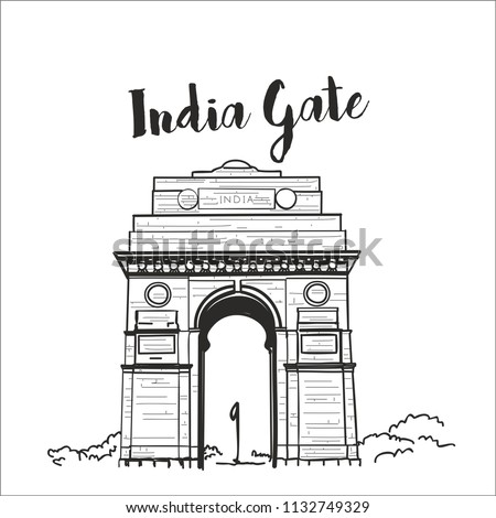 india gate delhi illustration