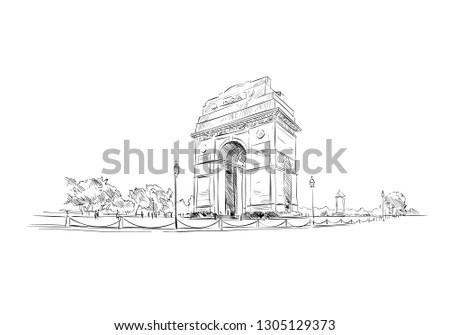 India Gate. New Delhi. India. Hand drawn vector illustration