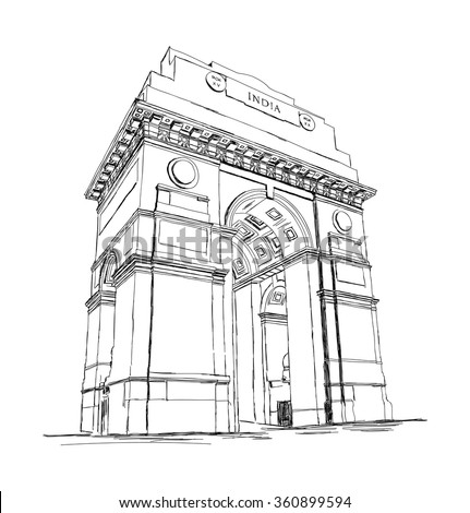 india gate vector sketch
