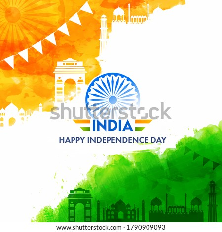 India Happy Independence Day Text with Ashoka Wheel, Saffron and Green Watercolor Effect Famous Monuments on White Background.