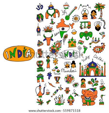 india  icons collection sketch