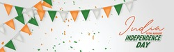 India Independence Day. Indian national August 15th holiday celebration banner with orange, white, and green bunting flags. Vector illustration.