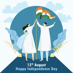 India independence day wishes with man and woman holding indian flag