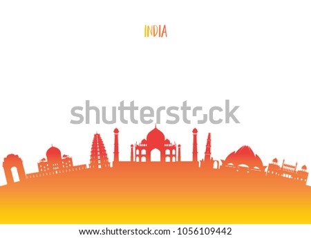 India Landmark Global Travel And Journey Paper Background Vector Design Templateused For Your