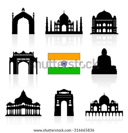 india landmarks icon set