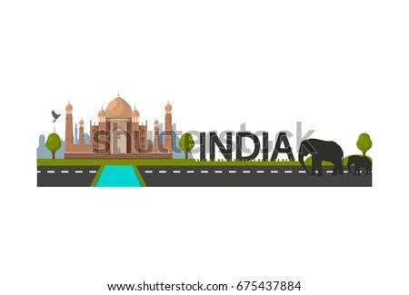 india landscape with taj mahal