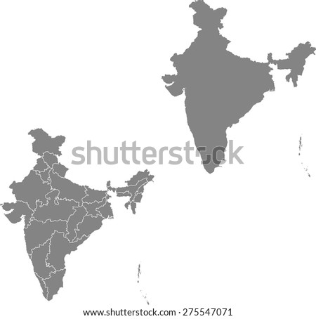 India Map Outline Download Free Vector Art Stock Graphics Images - India map vector