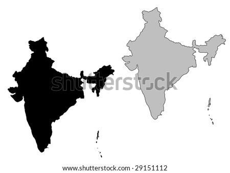 India map. Black and white. Mercator projection.
