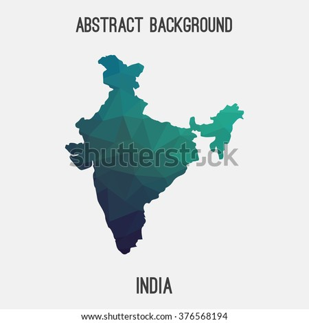 India map in geometric polygonal style.Abstract tessellation,modern design background. Vector illustration EPS8