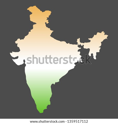 India map in national colors on black background. gradient vector illustration
