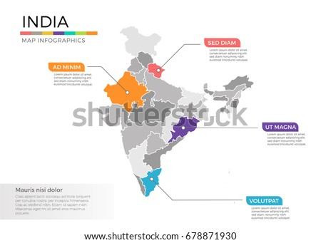 India map infographics vector template with regions and pointer marks