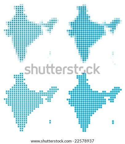 India map mosaic set. Isolated on white background.