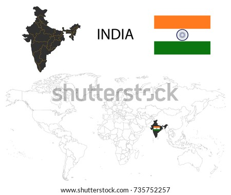 India state map download free vector art stock graphics images india map on a world map with flag on white background gumiabroncs Gallery