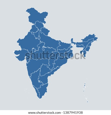 India map on gray background vector, India Map Outline Shape Blue on White Vector Illustration, High detailed Gray illustration map India. Symbol for your web site design map logo. app, ui, eps10.