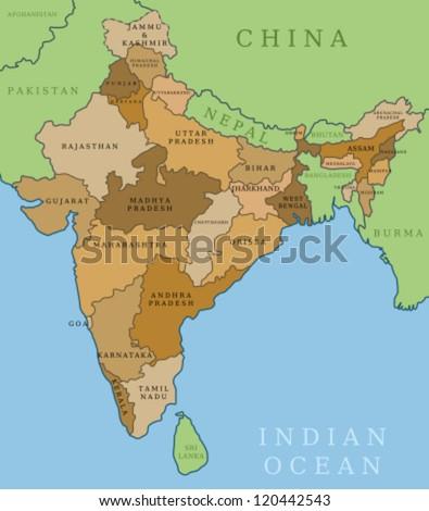 Map of India  Outline illustration… Stock Photo 170084144 - Avopix com