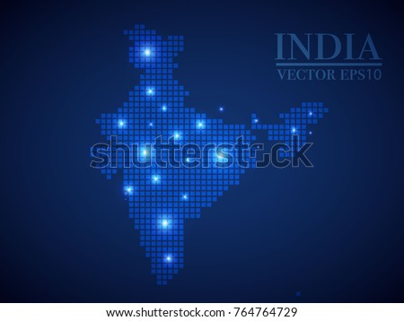India map page symbol for your web site design India map logo, app, UI. Wire frame 3D mesh polygonal network line, design sphere, dot and structure.
