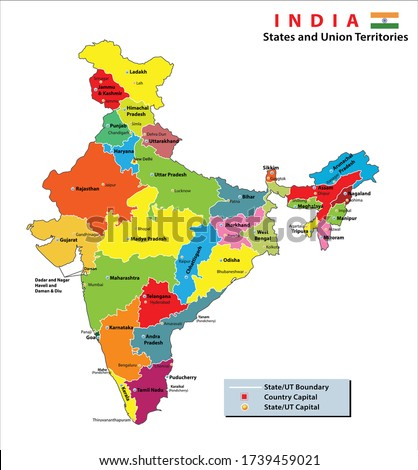 India map. Political Map of India. States and union territories along with their capital cities of India. Map with Regions Colored Vector Illustration. India states and capital new division 2020.