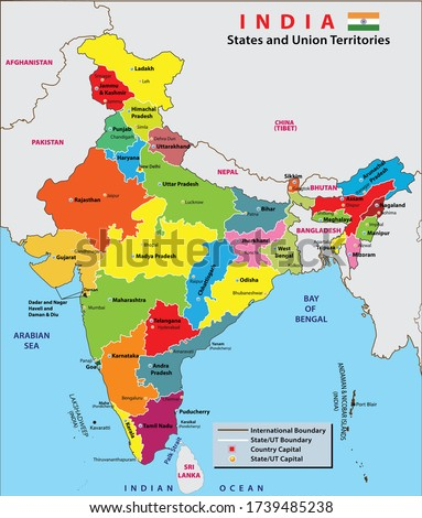 India map. States and union territories of India. India political map with capital New Delhi, national borders, important cities, rivers and lakes. English labeling and scaling. Illustration.
