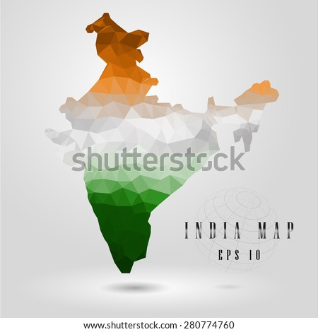 india map vector color polygon