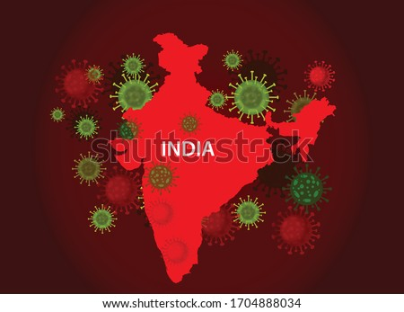 India map with covid-19 virus concept. Coronavirus is spread to all over the world and infected to all countries. Vector illustration of red map design with influenza virus. Covid 19 India map.