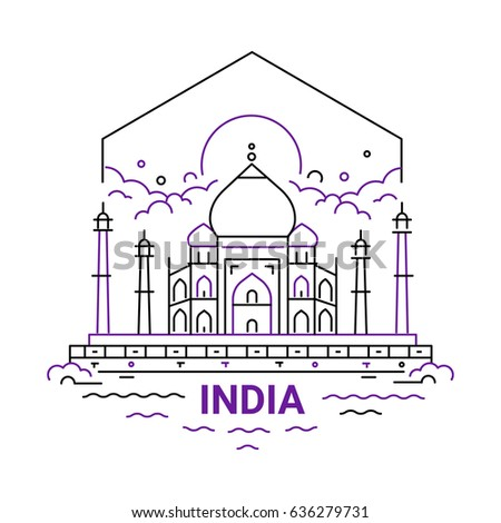 India - modern vector line travel illustration. Have a trip, enjoy your Indian vacation. Landmark image. An unusual composition with the Taj mahal, sun, cloud, temple, river on the sky background