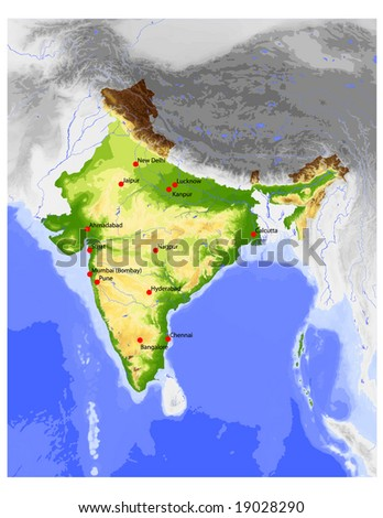 India. Physical vector map, colored according to elevation, with rivers, ocean depths and selected cities. Surrounding territory greyed out. 65 layers, fully editable. Data source: NASA