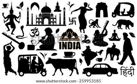 india silhouettes on the white