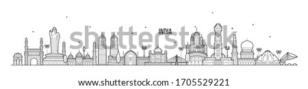 India skyline. This illustration represents the country with its most notable buildings. Vector is fully editable, every object is holistic and movable